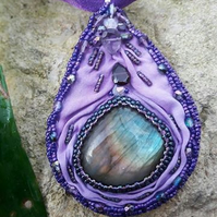 Labradorite Necklace Pendant with Garnet and Amethyst