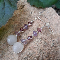 Gemstone Dangle Earrings with Rose Quartz and Amethyst