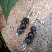Labradorite Earrings Sterling Silver - REDUCED