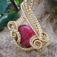 SALE 50% OFF Wire wrapped Rhodochrosite Gemstone Pendant Necklace