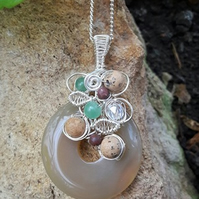 Wirework Gemstone pendant with Yellow Jade, Jasper and Aventurine