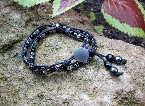 REDUCED. Wrap around Beaded Bracelet with Hematite Gemstone