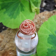 Wire Wrapped Rose Ring in Copper
