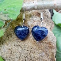 Gemstone Heart Earrings - Sodalite