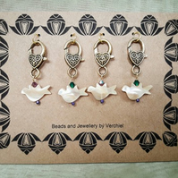 Set of Handmade Mother of Pearl Stitch markers