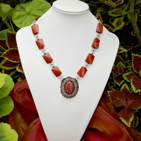 SALE Red Jasper Gemstone Necklace