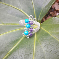 Sterling Silver Adjustable Ring with Amethyst and Turquoise Howlite