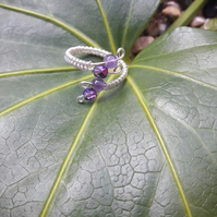 Sterling Silver Amethyst Ring - adjustable