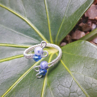 Sterling Silver Sodalite Ring - adjustable