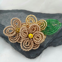 SALE Beaded Golden Flower Brooch -