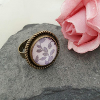 Chunky Purple Glass Flower Adjustable Ring