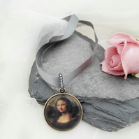 HALF PRICE SALE Mona Lisa Choker Necklace on Satin Ribbon