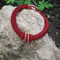 Vibrant Red beaded Bracelet  - SALE ITEM - REDUCED