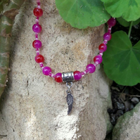 Purple Beaded Necklace with Angel Wing Charm - REDUCED