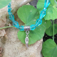 Turquoise Teardrop Beaded Necklace with Fairy Wing