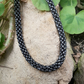 Metallic Grey Beadwork Rope Necklace