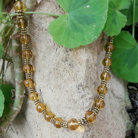 HALF PRICE SALE Amber Coloured Glass Beaded Necklace
