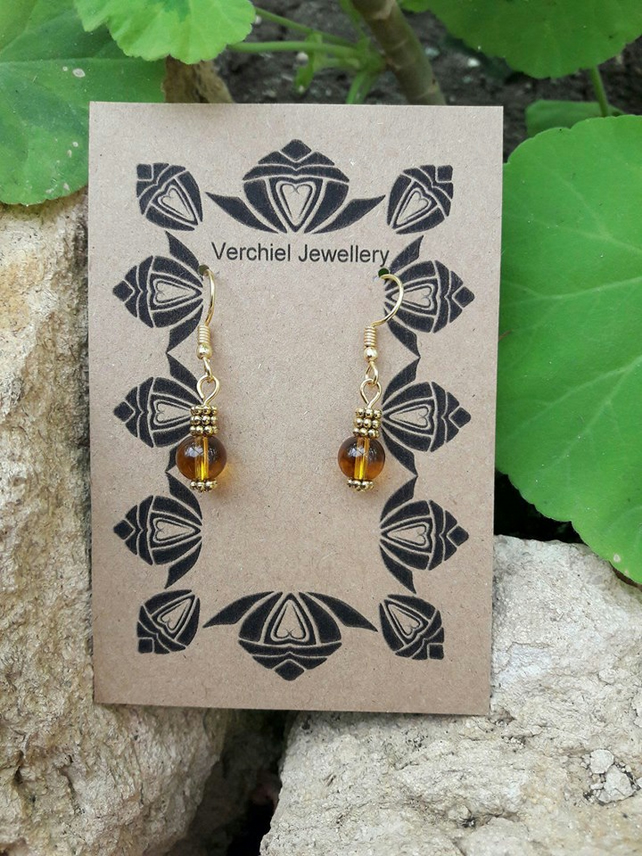 HALF PRICE SALE Amber Coloured Dangle Earrings