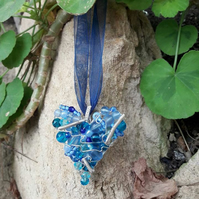 HALF PRICE SALE Wire work Blue Heart Pendant