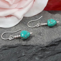 Sterling Silver dangle earrings with turquoise howlite