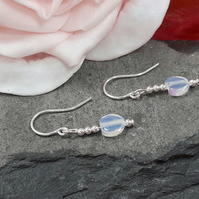 Sterling Silver dangle earrings with moonstone opalite