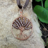 Copper Wire wrapped tree of life Pendant Necklace