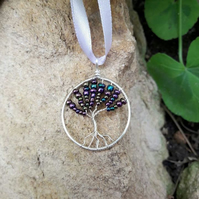 Wire Wrapped Tree of life Pendant Choker on ribbon