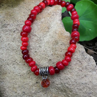 Bright Red Stretch Bracelet with crystal charm