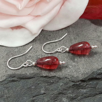 Fuchsia Pink Crackle Quartz sterling silver dangle earrings