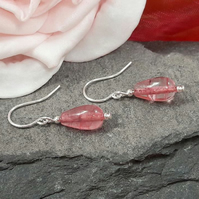 Baby Pink Crackle Quartz Sterling Silver Dangle Earrings