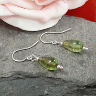 Green Crackle Quartz dangle earrings - sterling silver