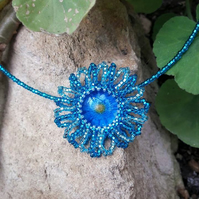 Turquoise Beaded  Necklace - Daisy flower design
