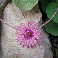 SALE 50% OFF Pink Beaded Necklace - Daisy flower design
