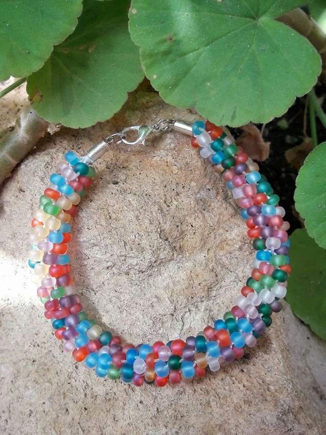 SALE Multicoloured beaded bracelet - Kumihimo