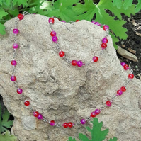 Purple red long beaded chain necklace