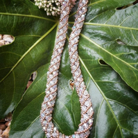 Beadwork crystal rope necklace
