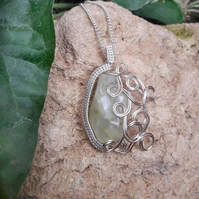 Wire Wrapped Prehnite Gemstone Pendant Necklace