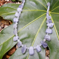 Lolite Gemstone beaded necklace with sterling silver clasp