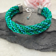Green and Turquoise Kumihimo Braided Bracelet  -REDUCED