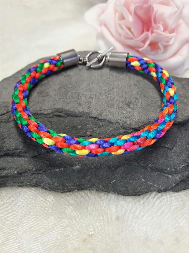 Multi coloured Kumihimo Braided Bracelet