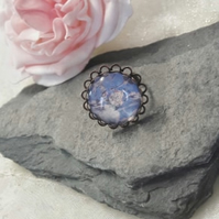 SALE Chunky Blue Glass Flower Adjustable Ring