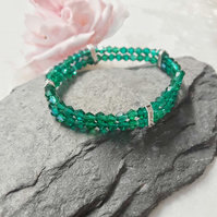 Emerald crystal and diamante stretch bracelet