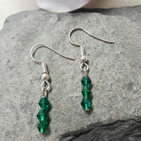 Emerald crystal dangle earrings -REDUCED