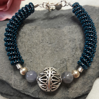 Wire work and gemstone bangle - REDUCED