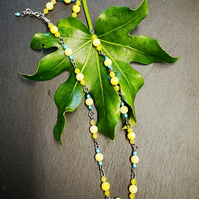 Beaded Yellow gemstone necklace