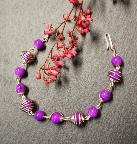 Wire Wrapped purple beaded Bracelet