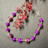 Wire Wrapped purple beaded Bracelet -REDUCED