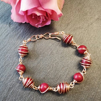 Wire Wrapped Red Quartzite beaded Bracelet