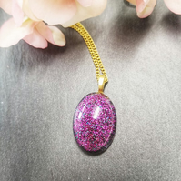 Hot pink Resin Sparkle Pendant