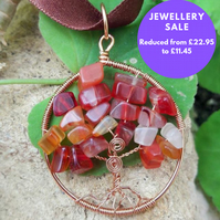 SALE Tree of life pendant Carnelian